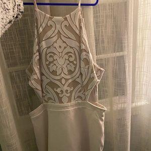 White and Tan Bebe homecoming dress